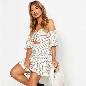 Stripe Sweetheart Off The Shoulder Mini Dress